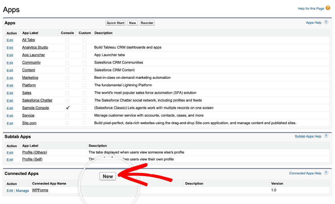 Adding a new app in Salesforce