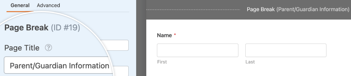 Editing the page title for a multi-page form