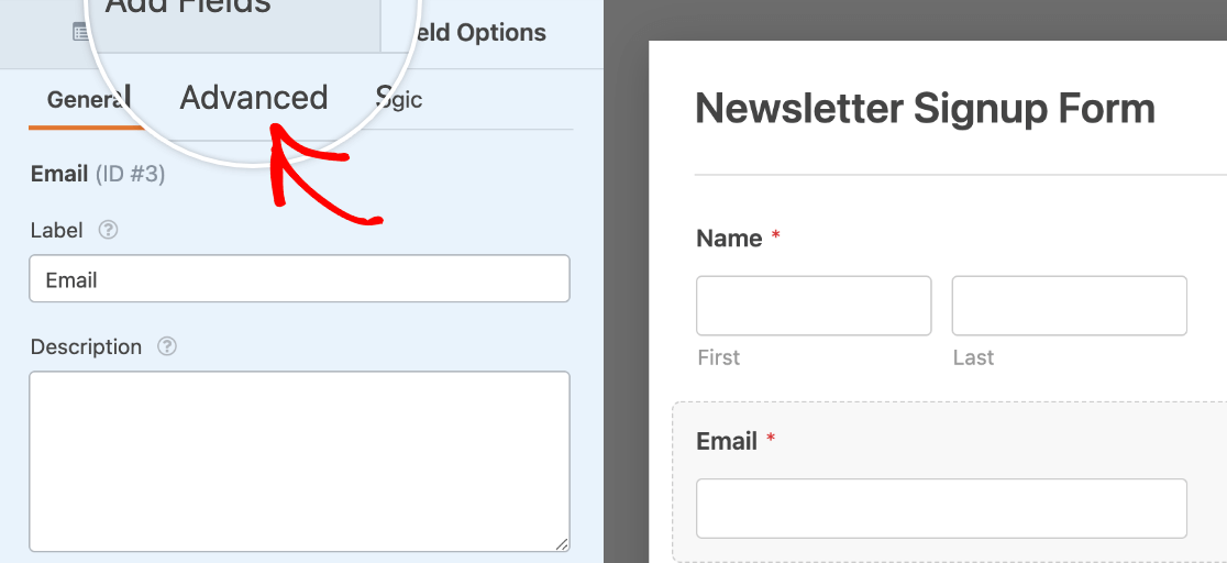 Accessing the advanced options for an email field
