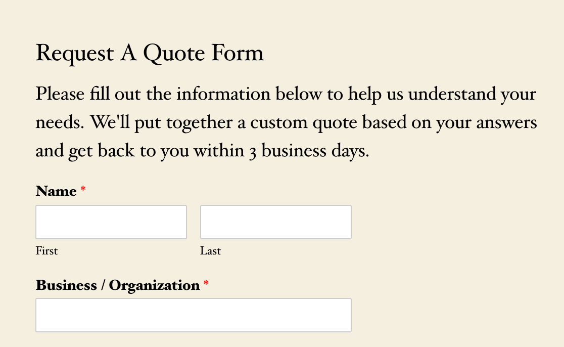 An example of a form title and description on the frontend