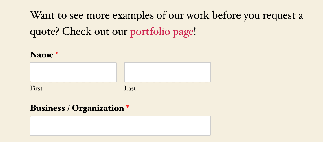 An example of a link added to a form with an HTML field