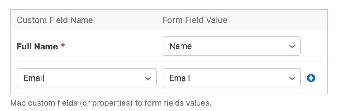Mapped custom fields for a Salesforce connection