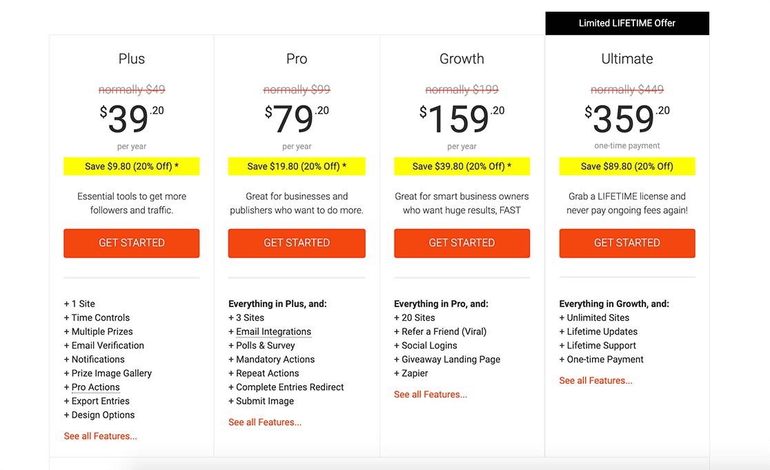 rafflepress-review-pricing