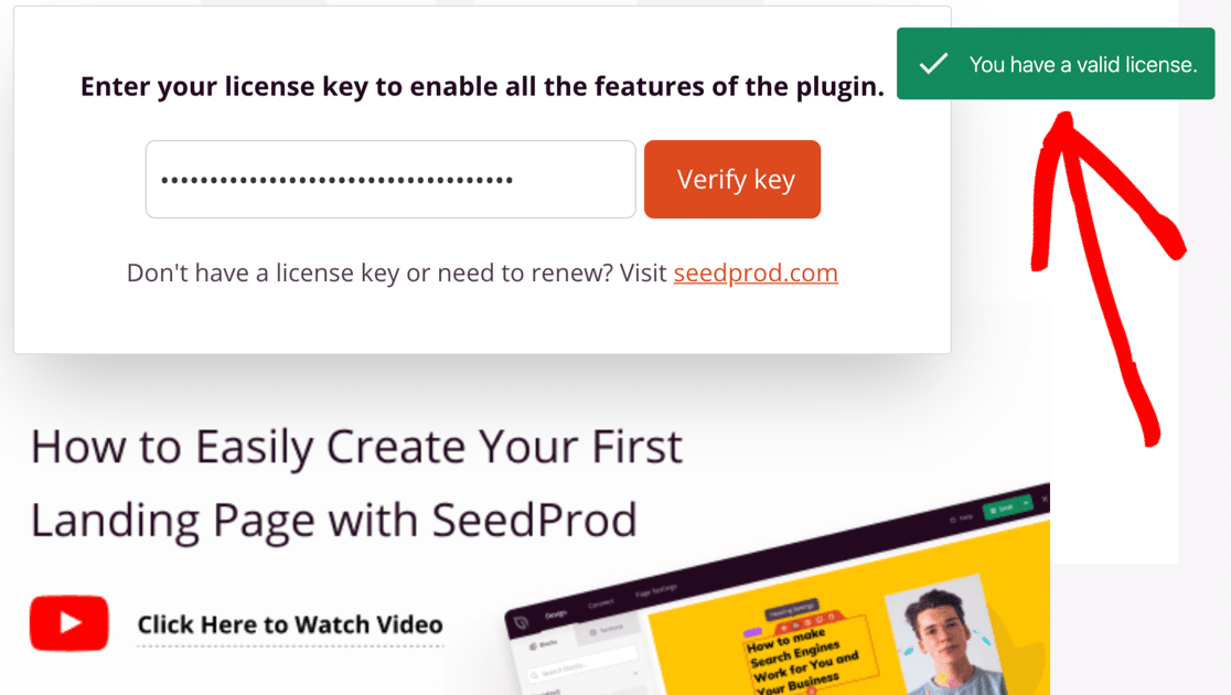 Enter SeedProd license key to unlock coming soon features