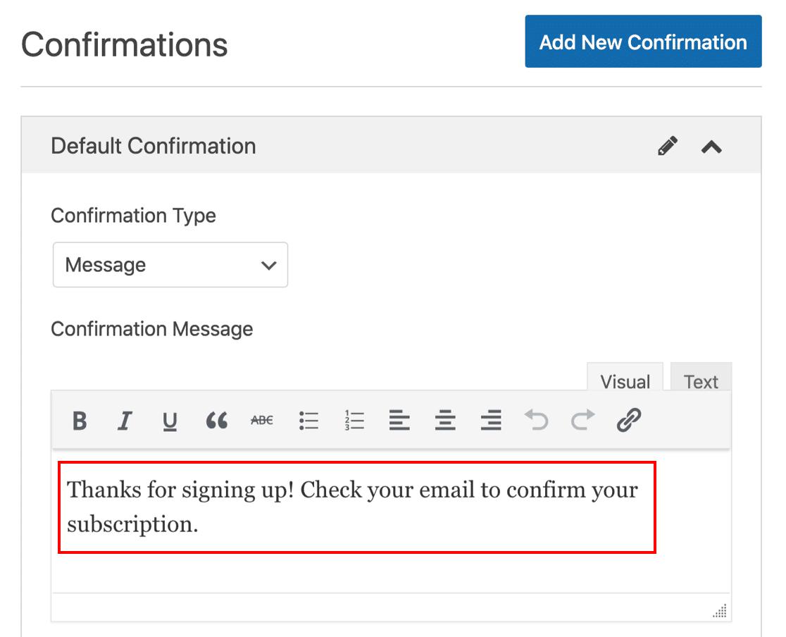 Edit SendFox subscription message in WordPress