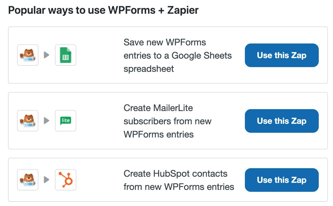 Example Zapier Zaps in WPForms