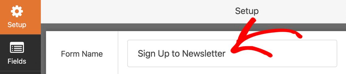SendFox WordPress newsletter signup form name