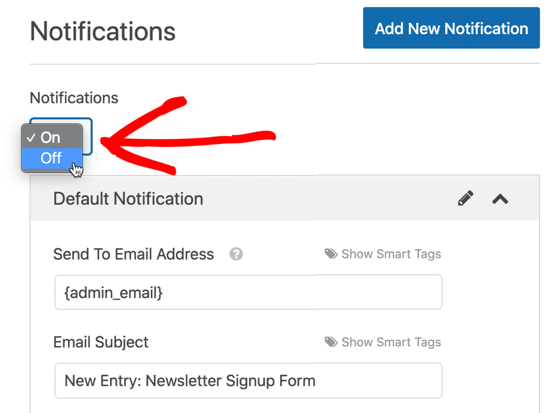 Disable SendFox WordPress form notifications