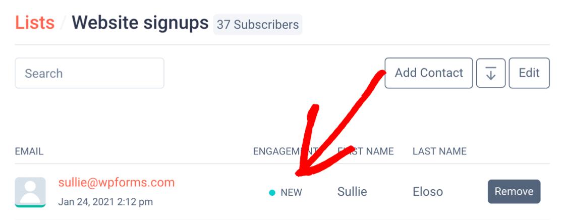 New SendFox subscriber from WordPress form