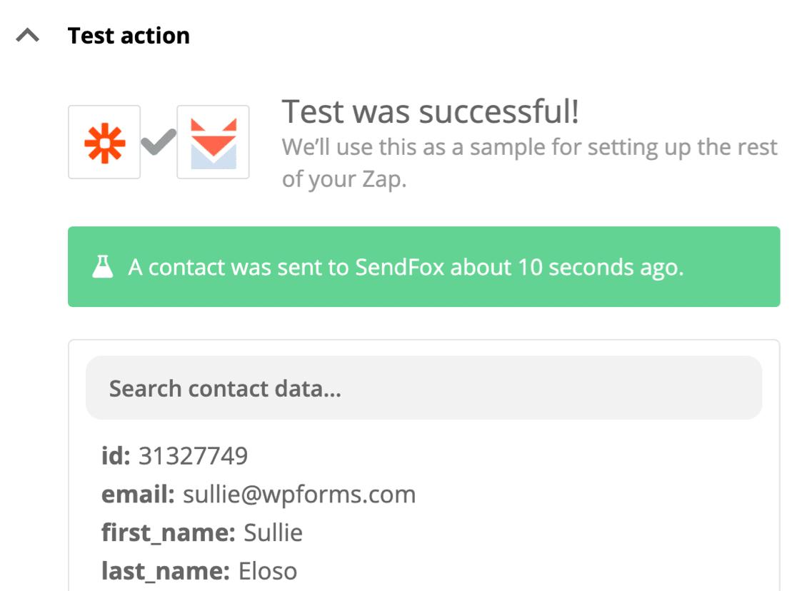 SendFox WordPress form test successful
