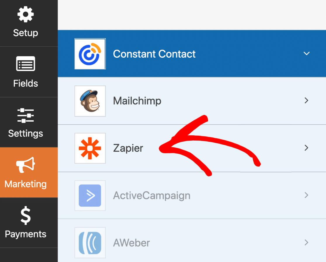 Open WordPress SendFox Zapier settings