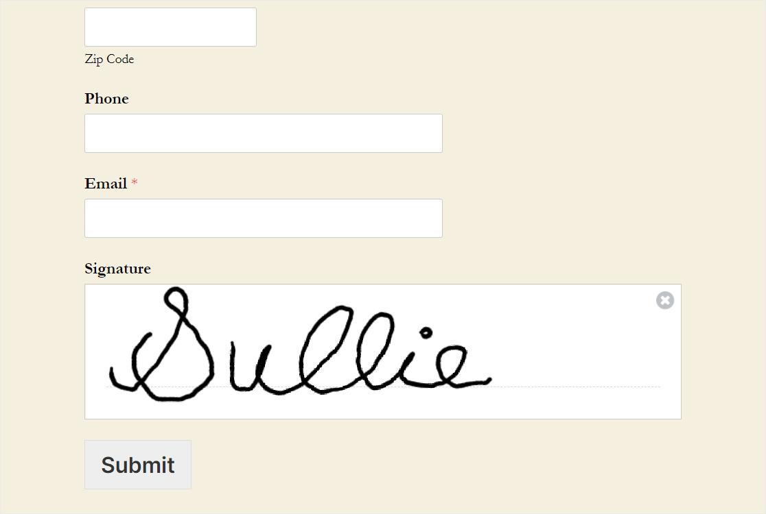 signature field wpforms
