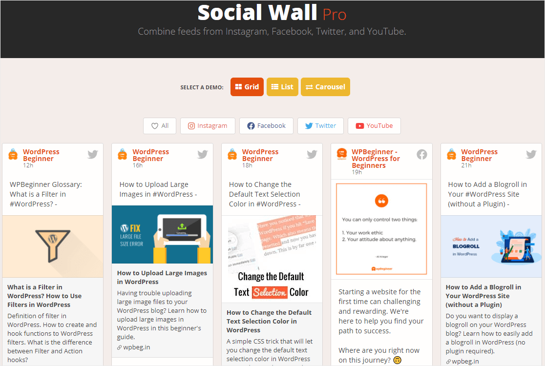 social proof example with social wall