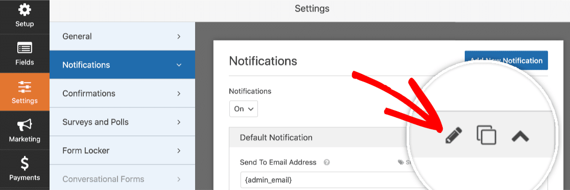 Click the pencil icon to edit notification name