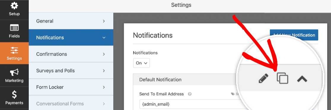Clone a form notification