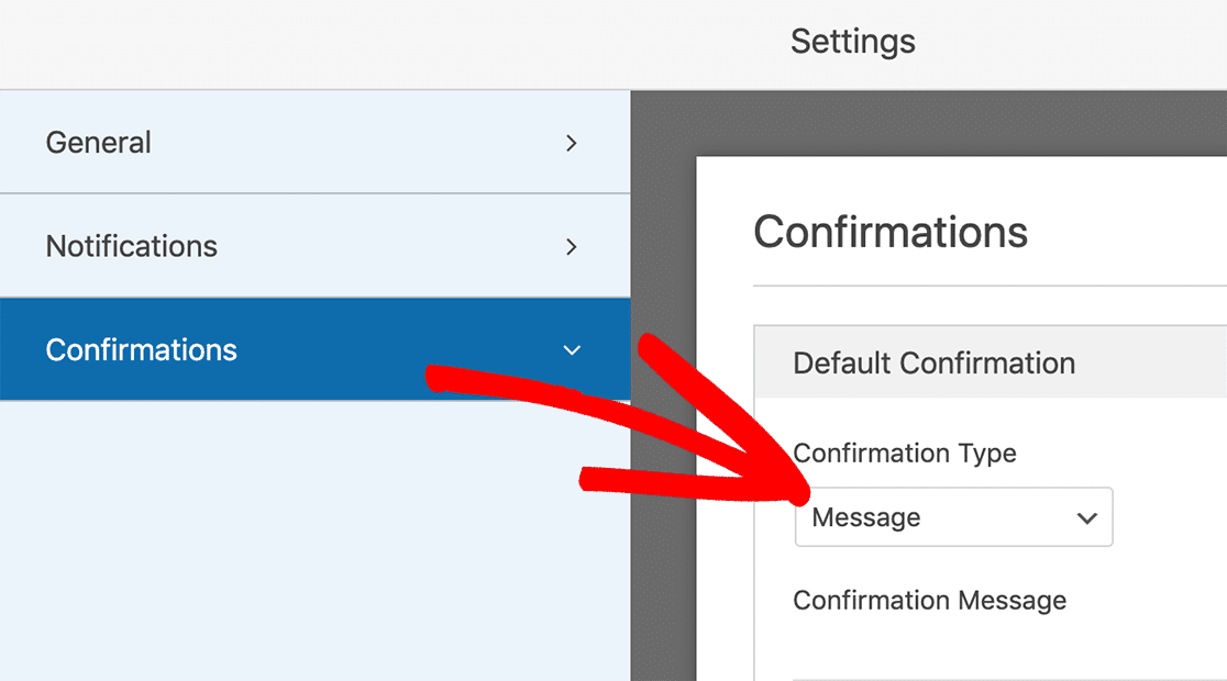 Confirmation Settings for message option