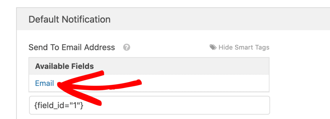 Select a Smart Tag for user email