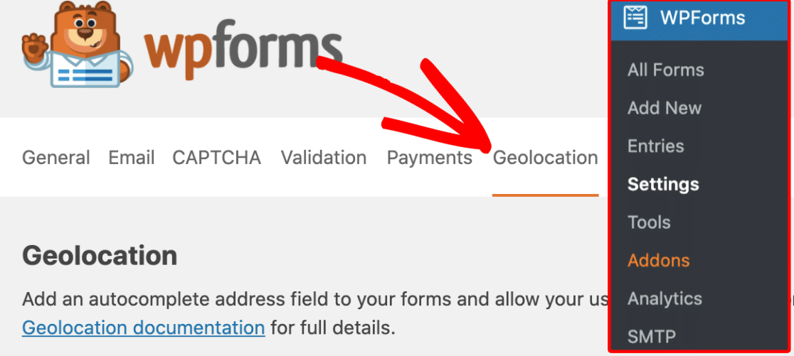 Geolocation settings in WPForms