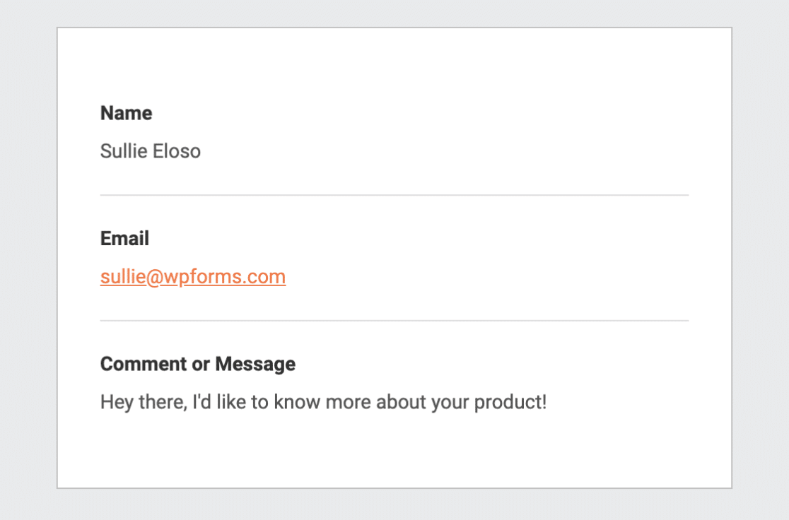 A sample notification email