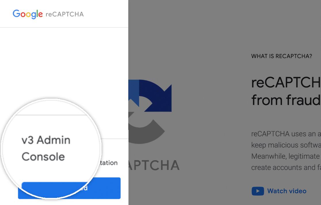 Click admin console button on Google reCAPTCHA page