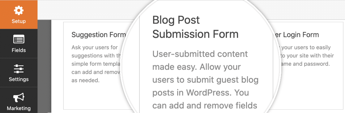 Select the Blog Post Submission form template