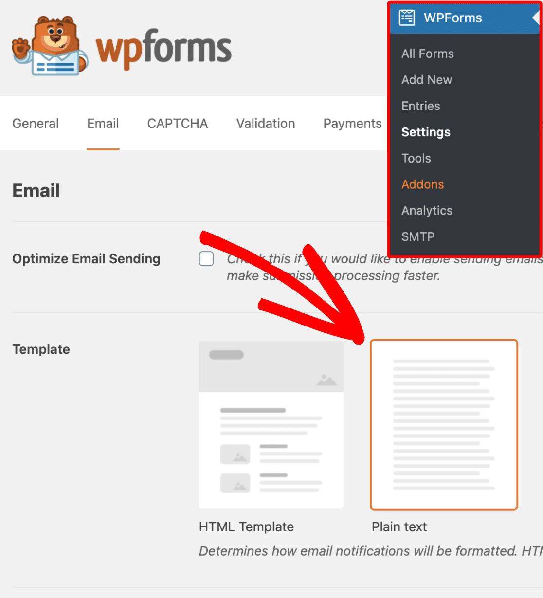 Select Plain Text emails