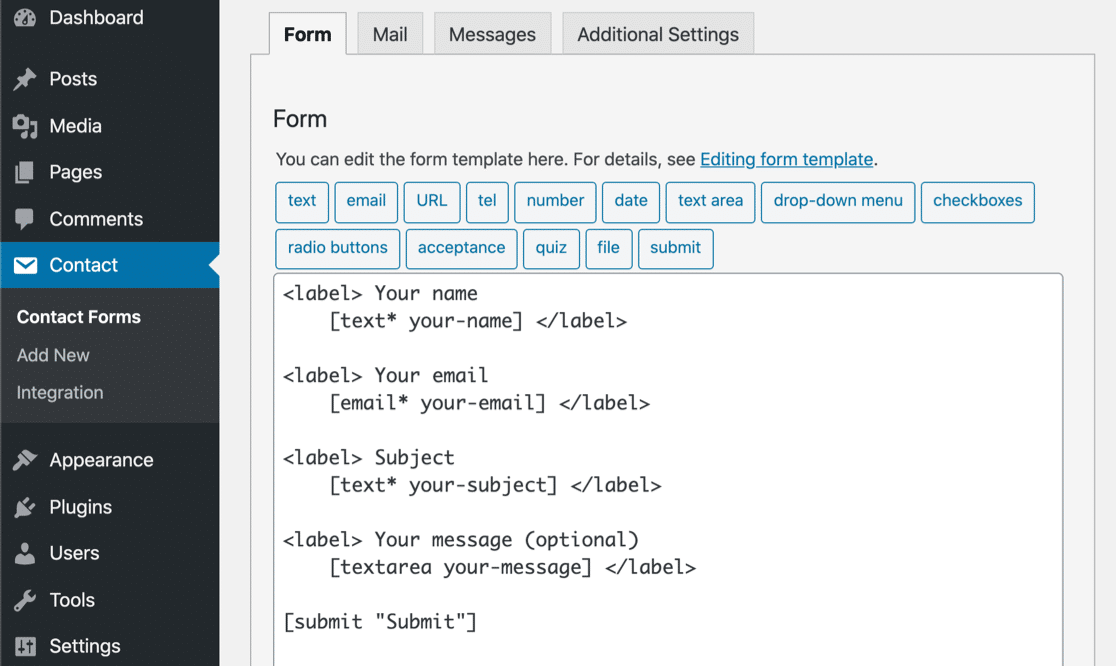 Default contact form CF7