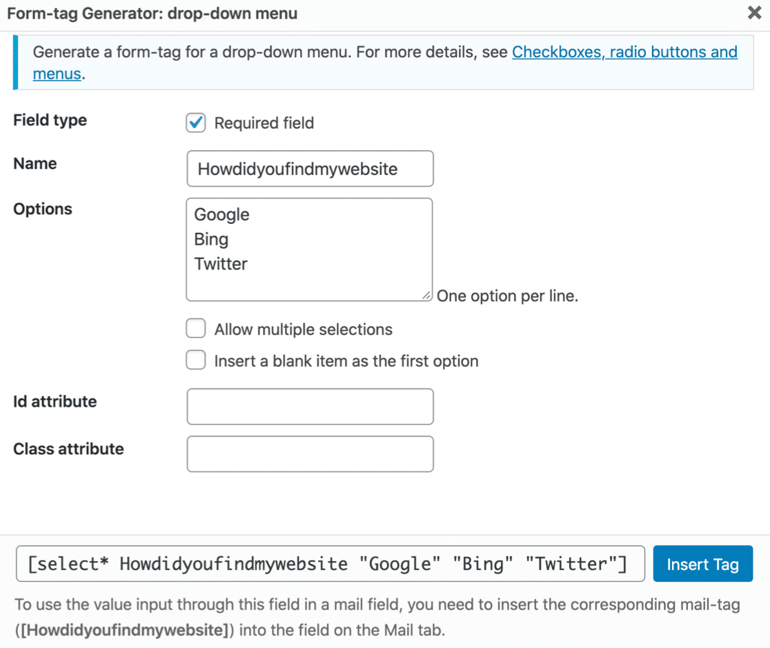 Making a dropdown field in Contact Form 7