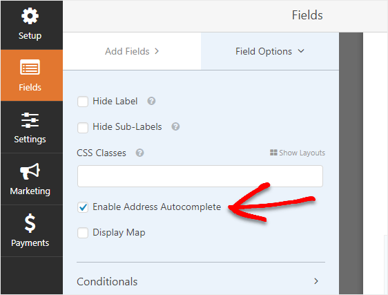 enable address autocomplete
