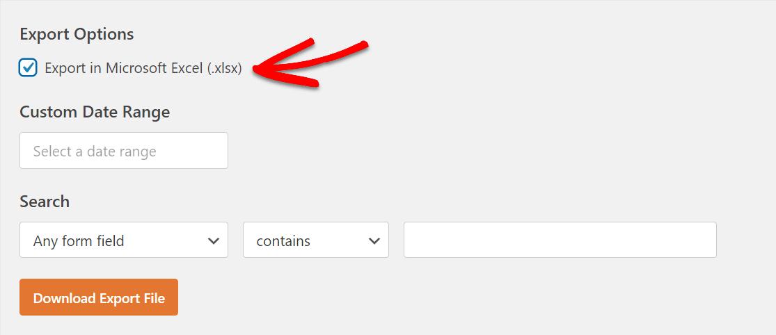 excel export option in wpforms export tab