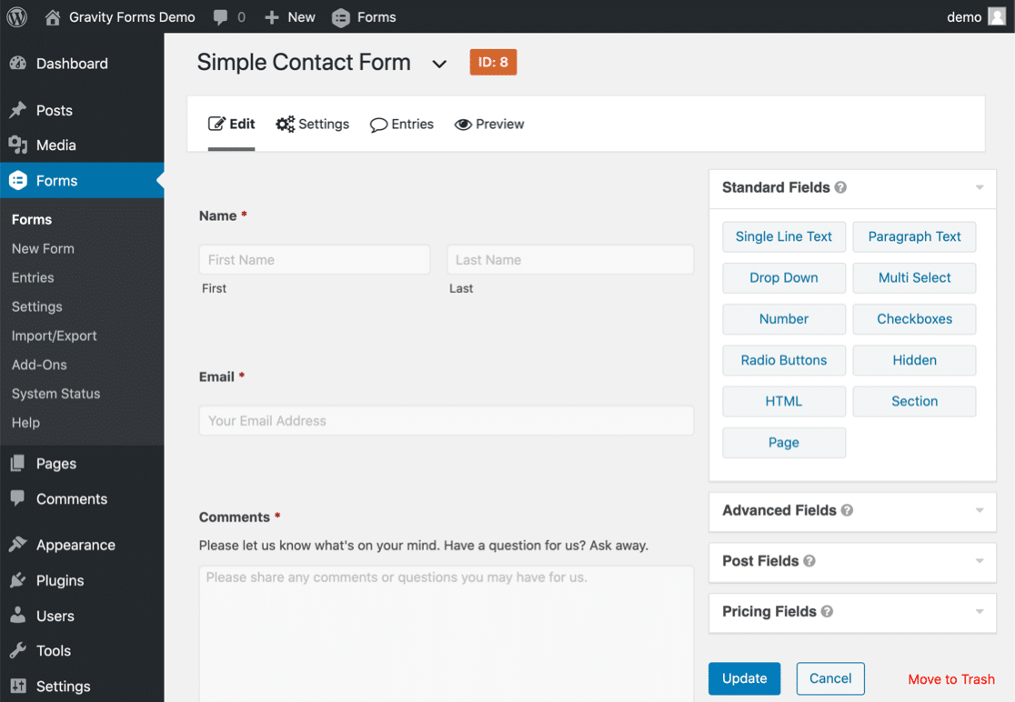 Gravity Forms vs Contact Form 7 interface