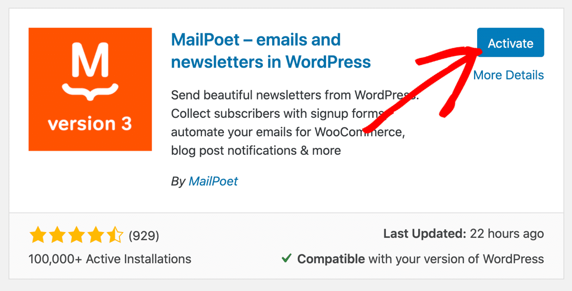 Install MailPoet WordPress plugin