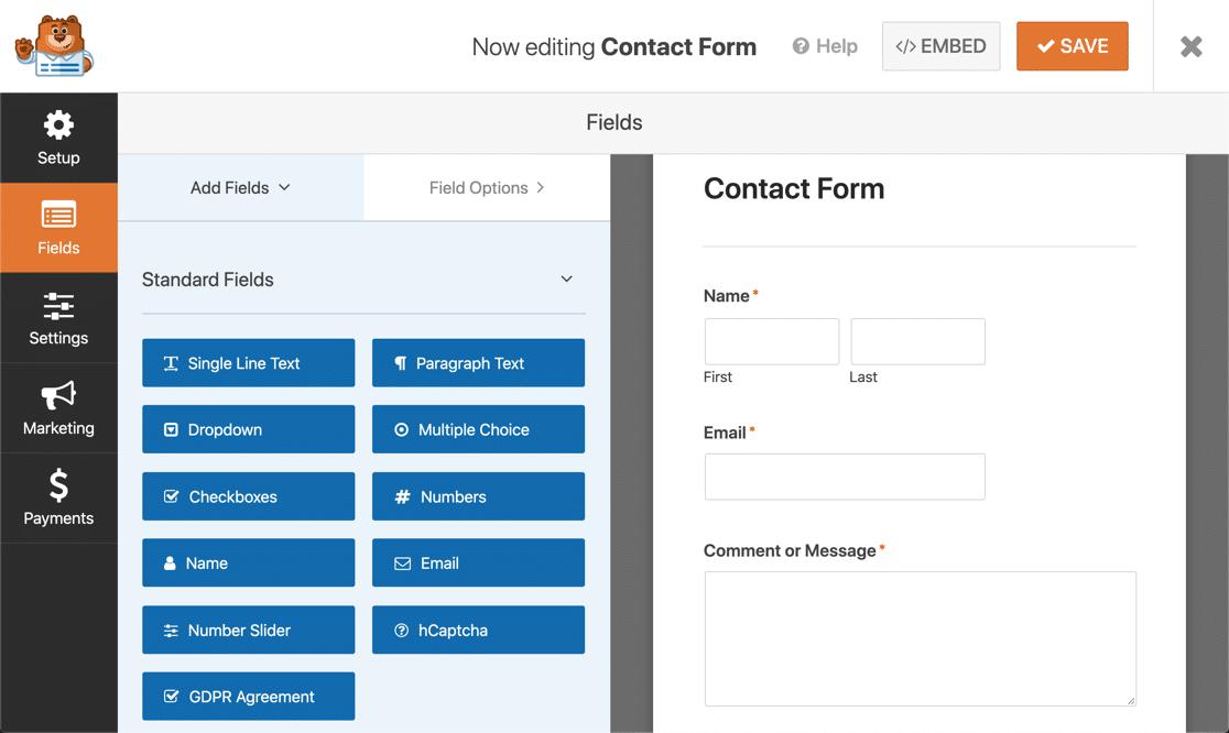 WPForms Lite form builder
