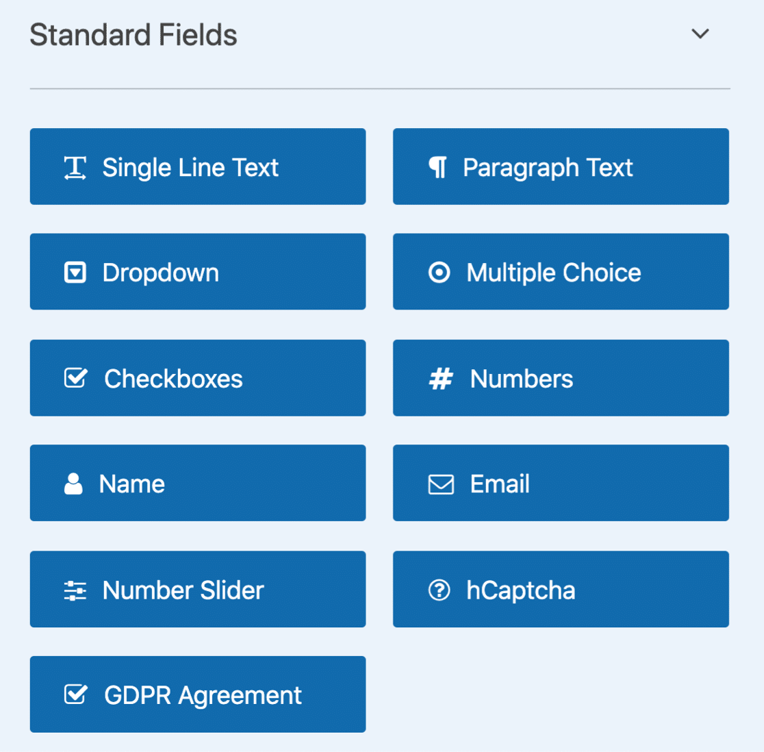 WPForms Lite Standard fields