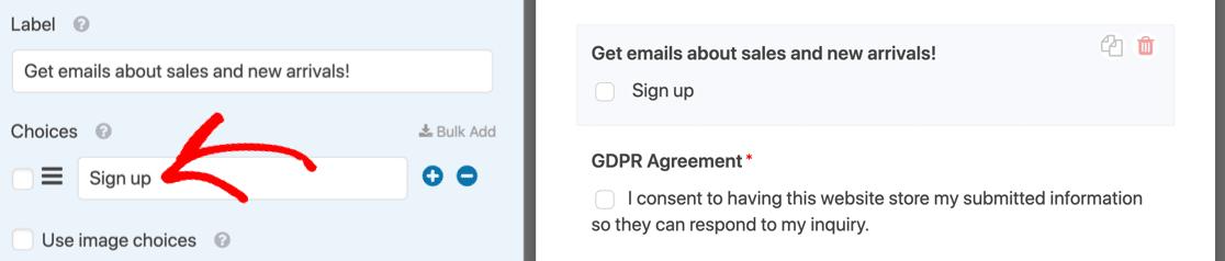MailPoet WordPress form optin checkbox