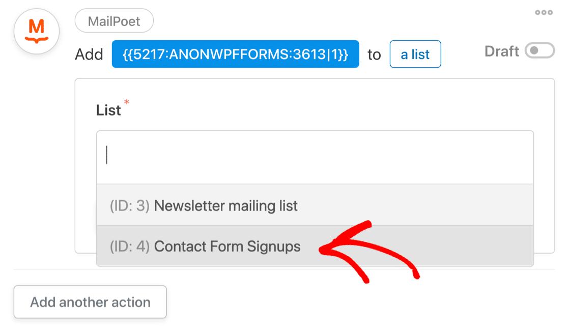 Select MailPoet list