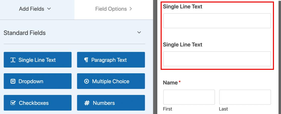 MailPoet WordPress form with 2 single line text fields