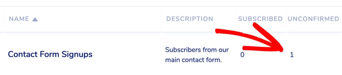Unconfirmed MailPoet WordPress form subscriber