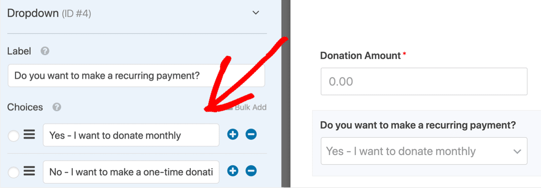 Choose one-time or recurring donation