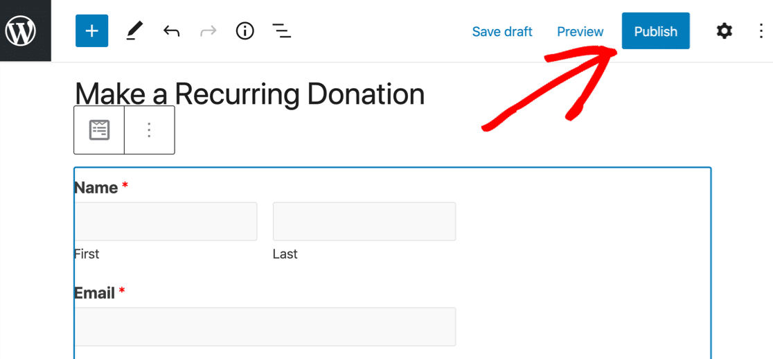 Publish recurring payments form in WordPress