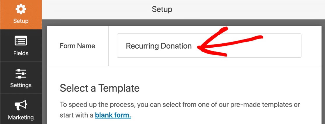 WordPress recurring payments form name