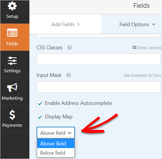 select location of map on wpforms