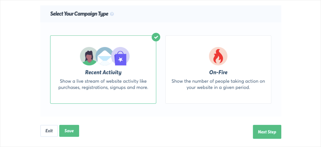 Select your campaign type in TrustPulse