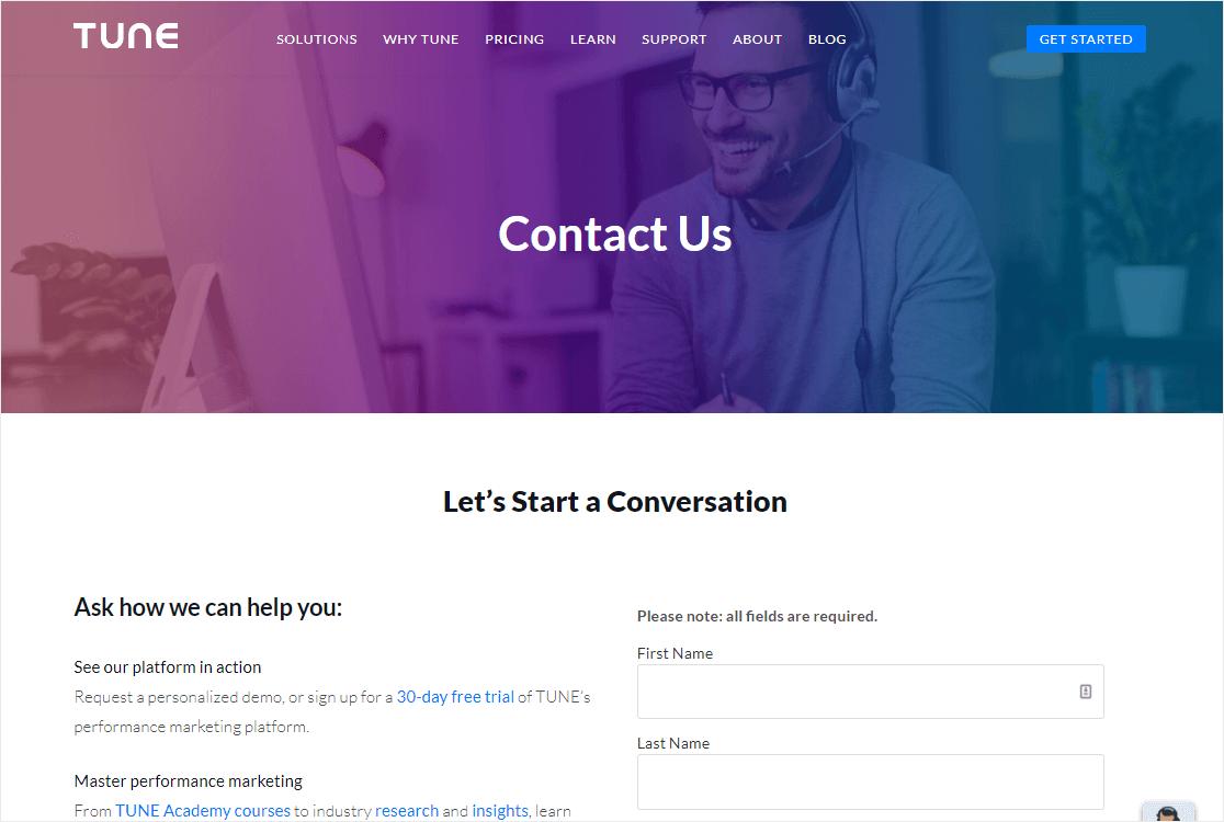 form on website with header