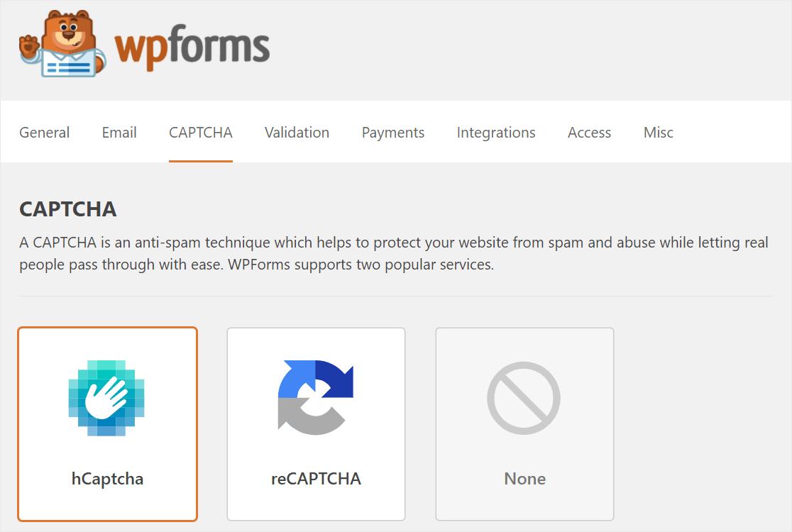 wpforms anti spam options captcha