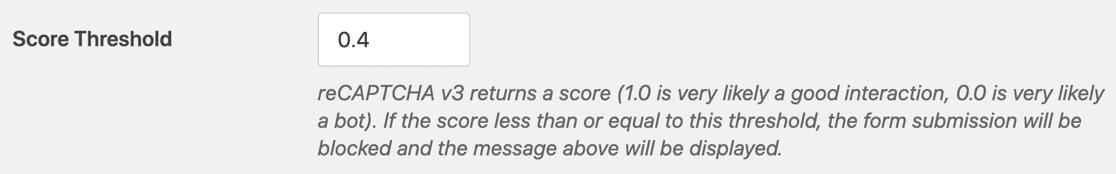 WPForms reCAPTCHA threshold