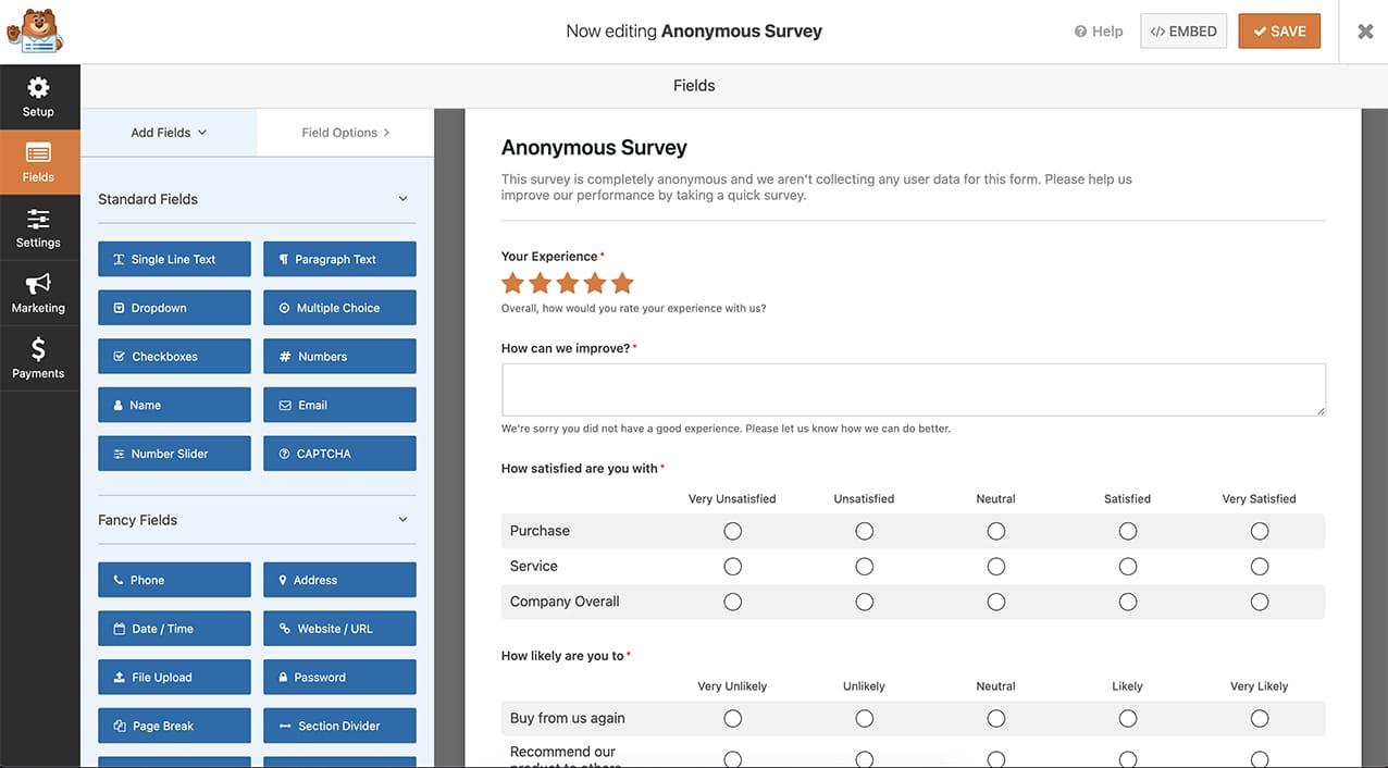 WPForms survey