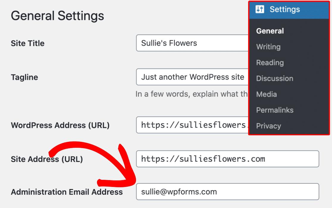 Admin Email in WordPress