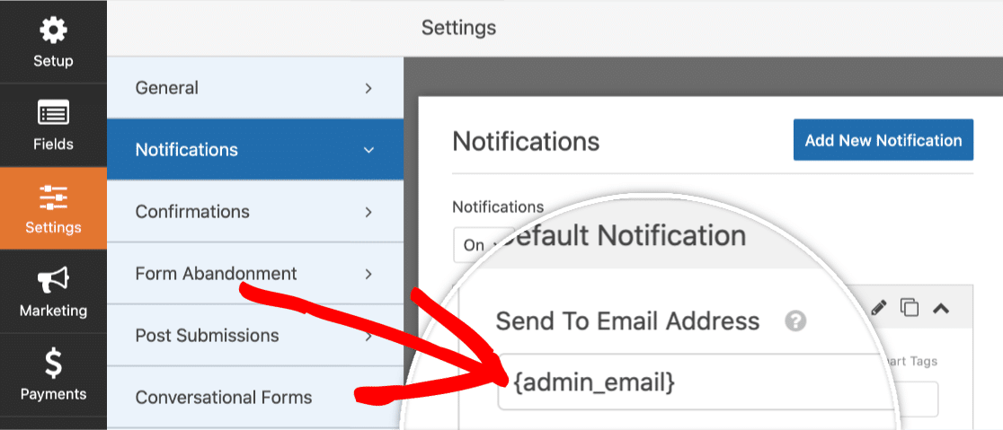 Admin Email Smart Tag