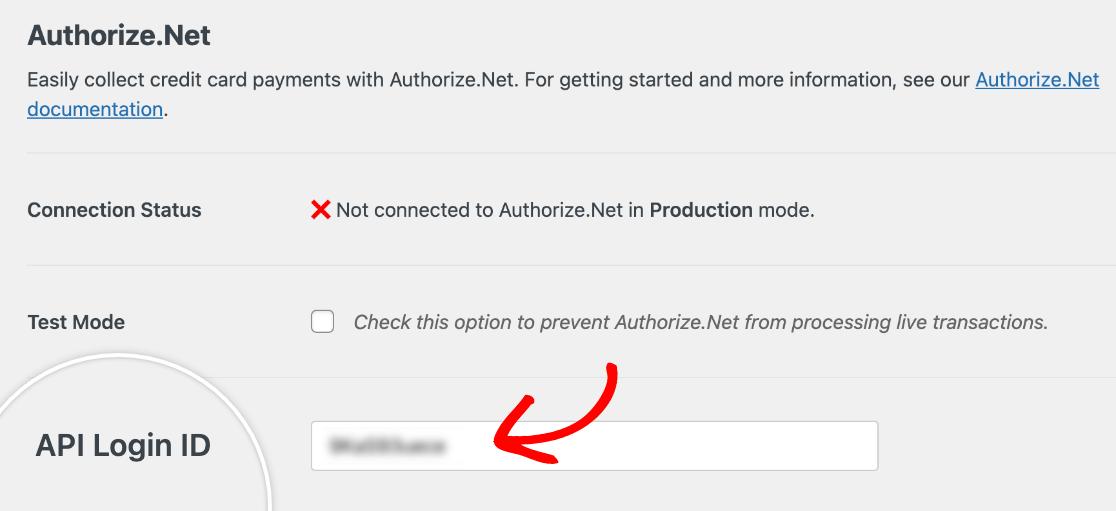 Adding an Authorize.Net API Login ID